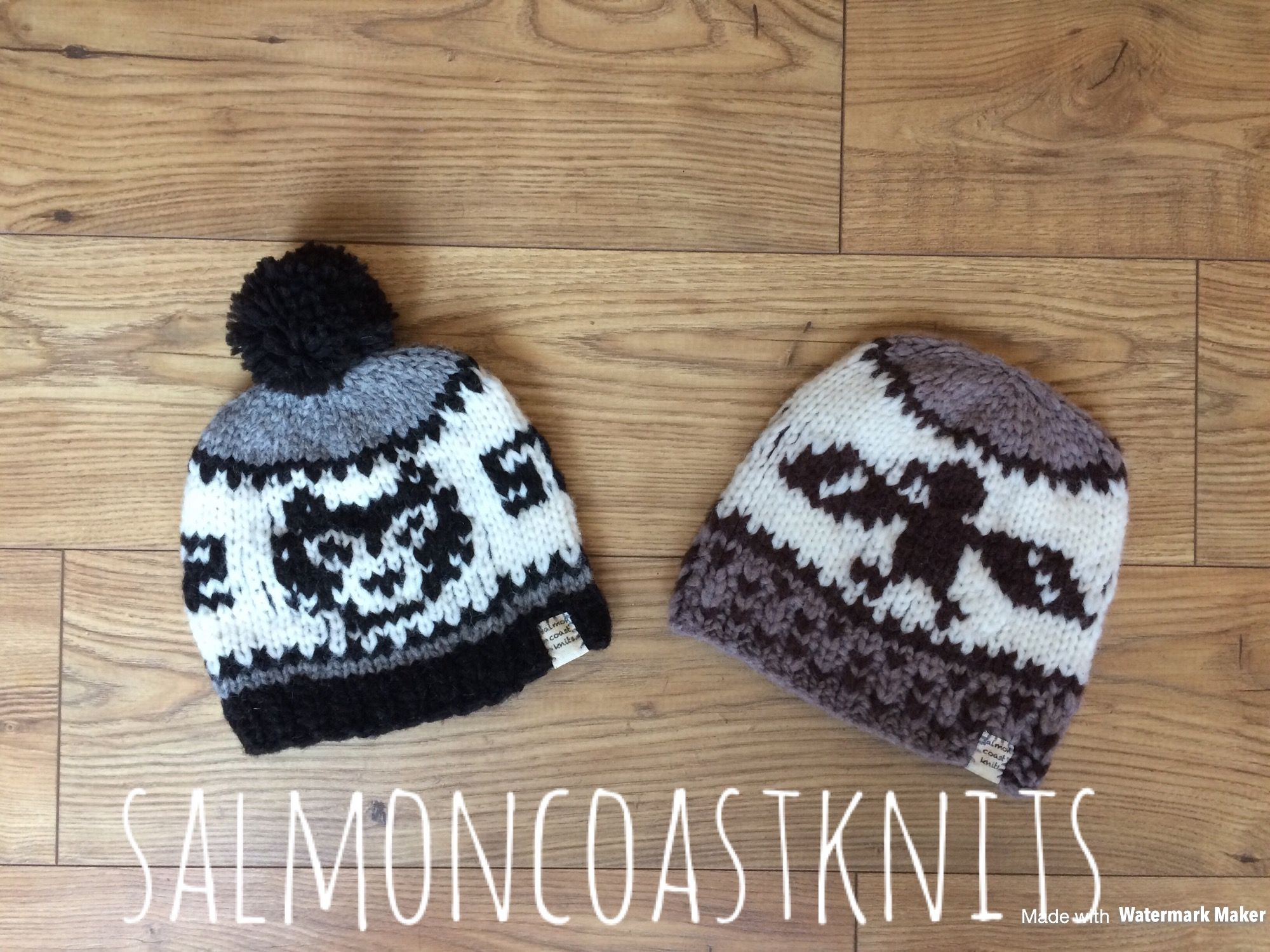 Cowichan style knitting wool hat toque wolf and eagle