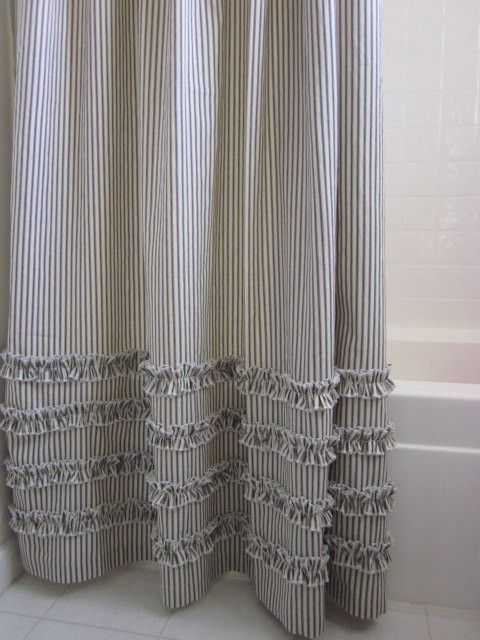 Vintage Ticking Stripe Shower Curtain with Ruffles 3 Sizes Black