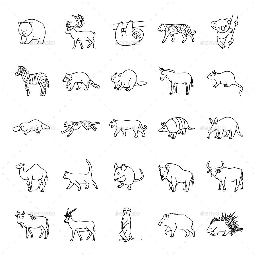 Mammals Ii Outlines Vector Icons Doodle Tattoo Animal Drawings Sketches Animal Outline