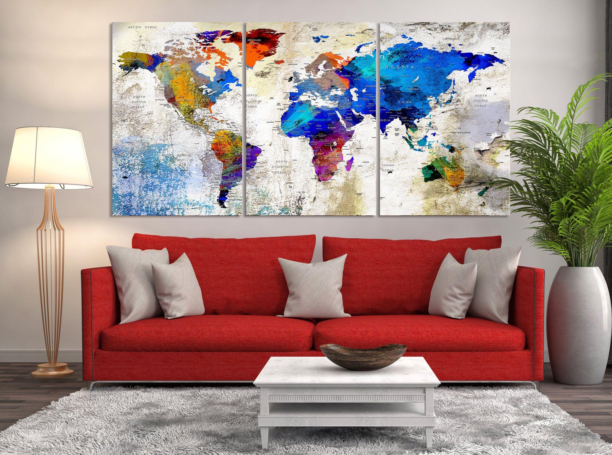 53868 large wall art push pin world map canvas print world map 53868 large wall art push pin world map canvas print world map wall gumiabroncs Gallery