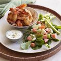Buffalo Shrimp with Crunchy Salad #buffaloshrimp