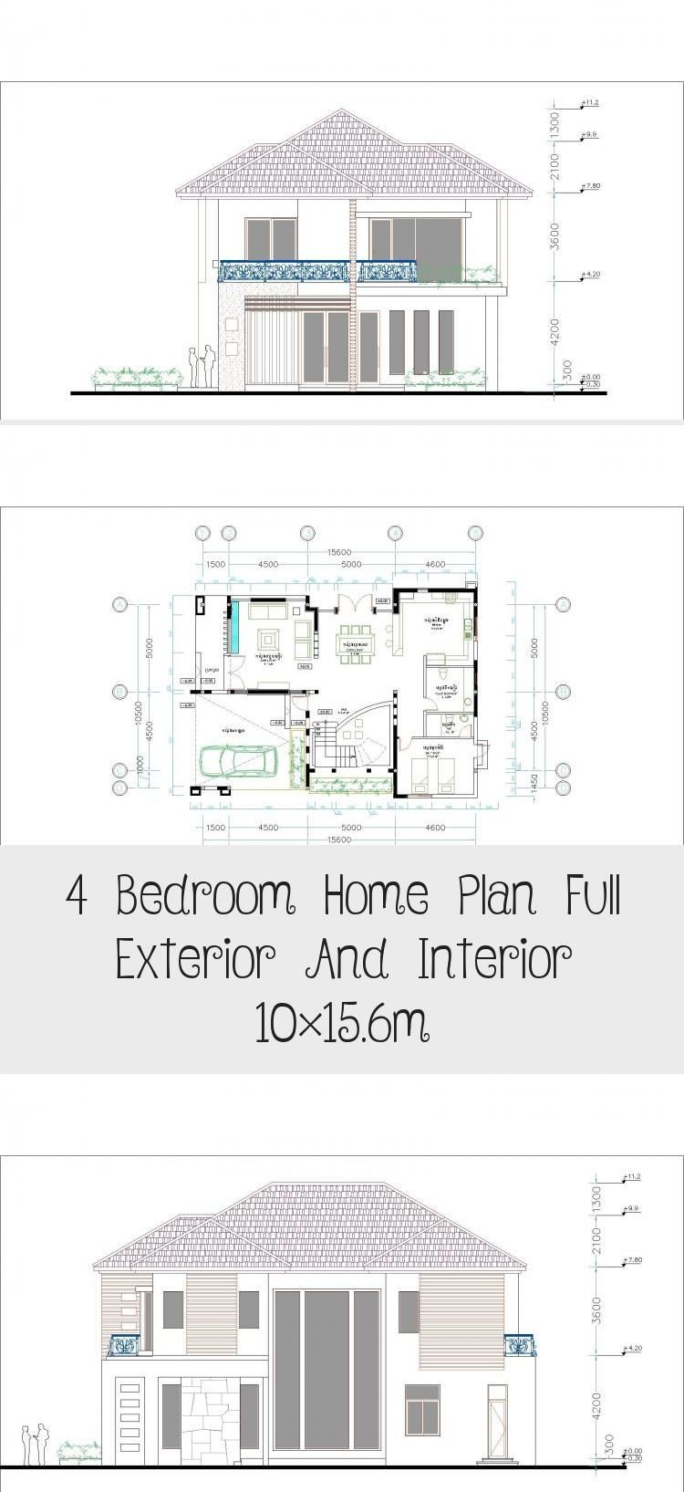 10x15 Room: 4 Bedroom Home Plan Full Exterior And Interior 10×15.6m In
