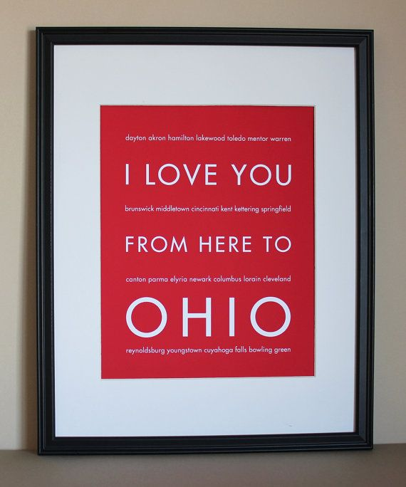 Ohio State Art I Love You From Here To Ohio By Hopskipjumppaper