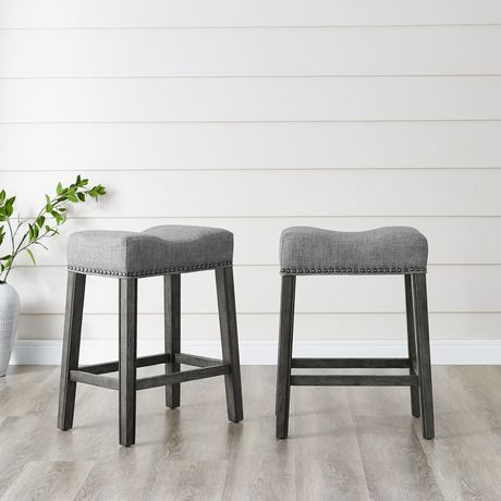 Remarkable Brassex Inc Oakland 26 Saddle Counter Stool Set Of 2 Grey Evergreenethics Interior Chair Design Evergreenethicsorg