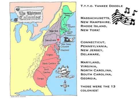13 Colonies Song important to think about how we lived before we