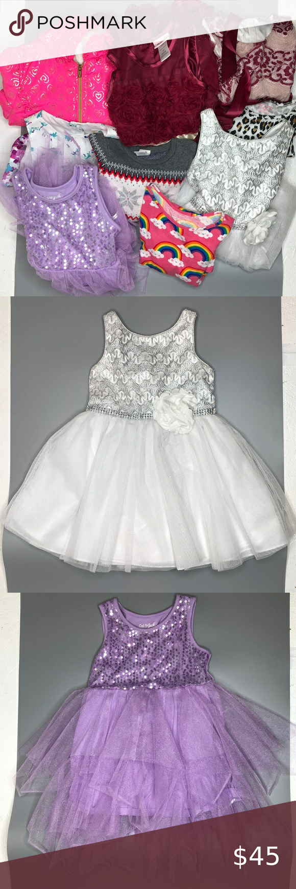 Girl Bundle Dresses 4t Mixed Of Brands Gently Used Girls Dresses Purple Dress Is Cat Jack Length 21 Pink Rainbow Dr White Sparkly Dress 4t Dress Dresses [ 1740 x 580 Pixel ]