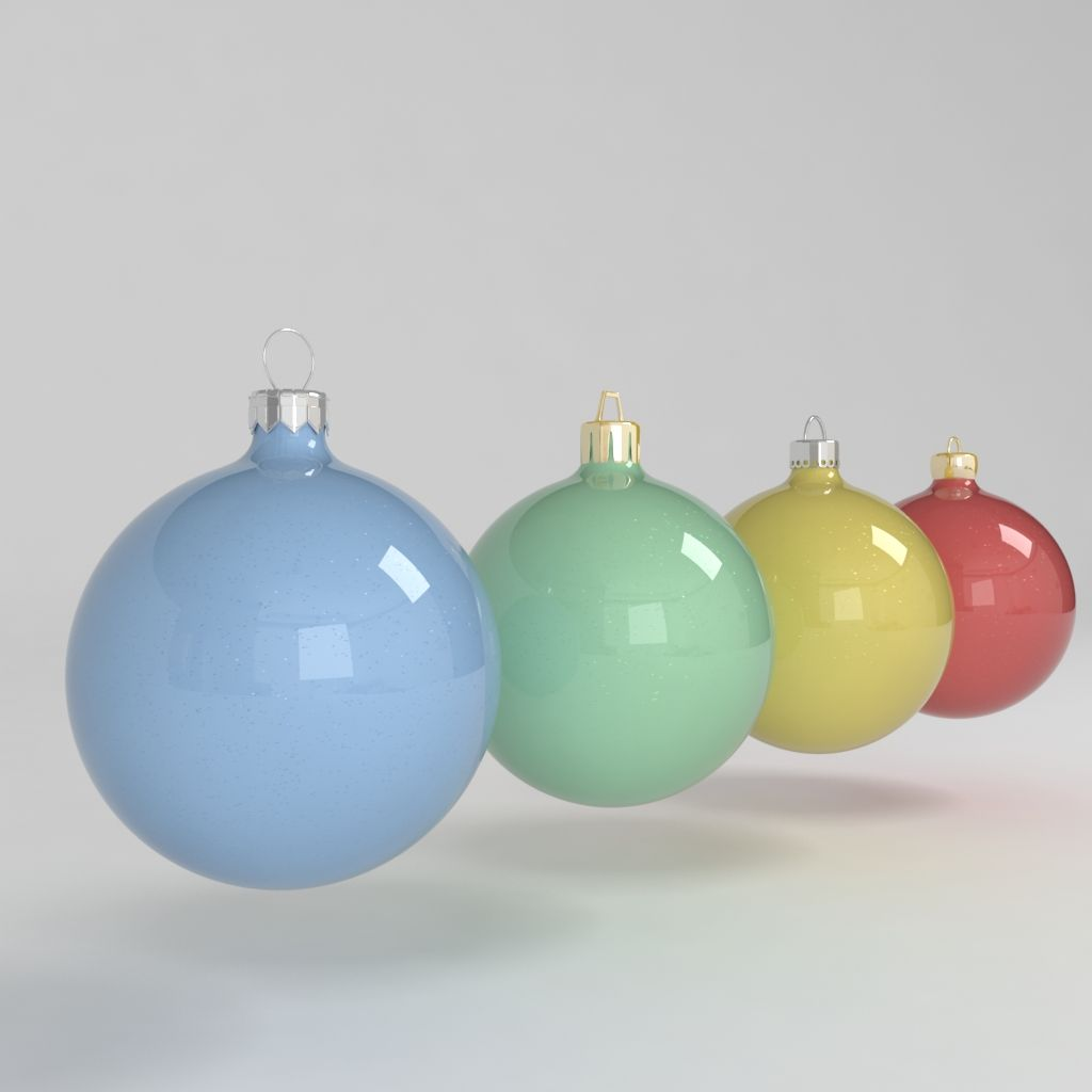 3d Model Christmas Ball Decoration Colored Tree Decoration Noel Celebration Blue Green Yellow Red Tree Decorations Christmas Bulbs Christmas Balls