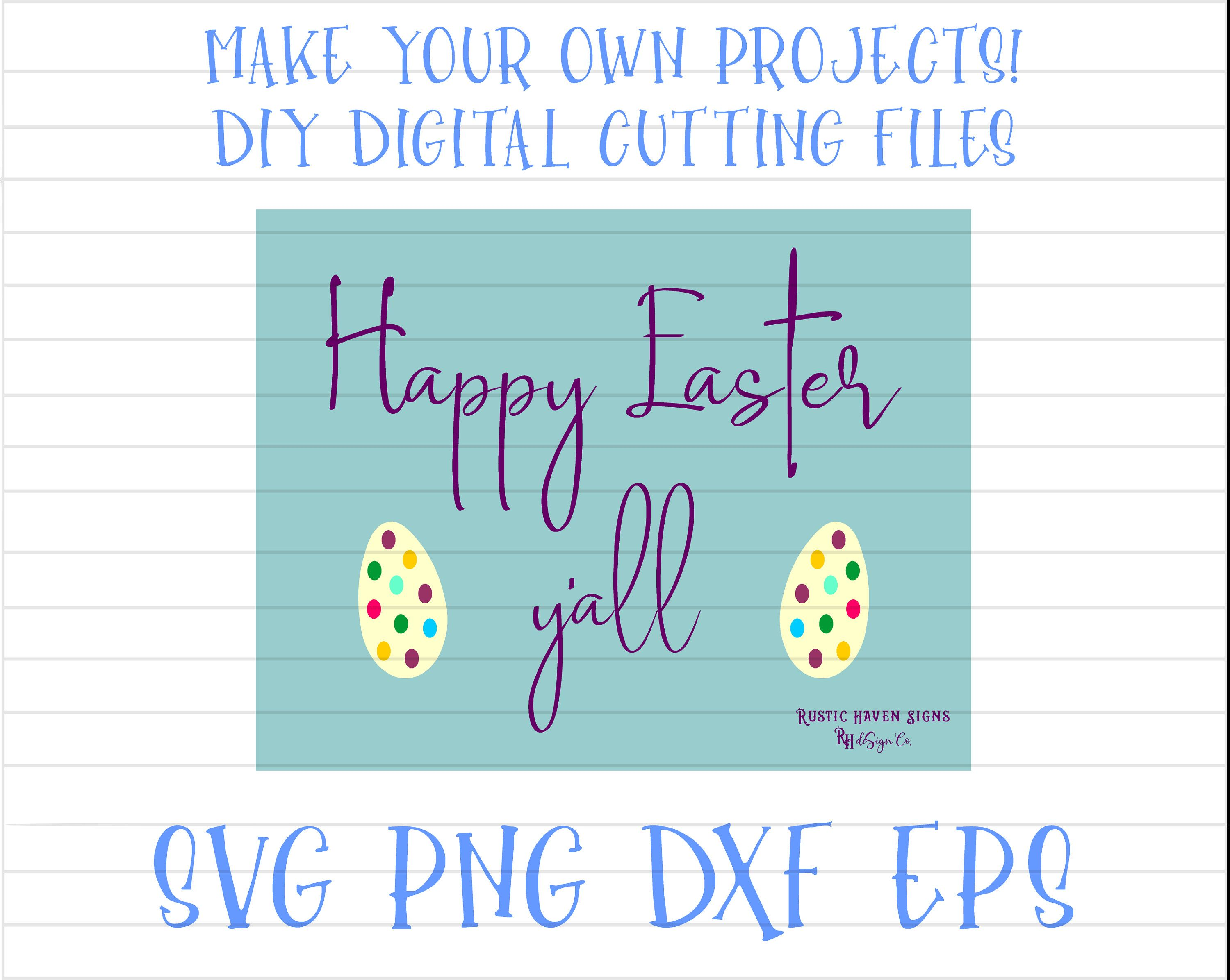 Photo of Happy Easter Y'all | SPSU0007 | Digital Image | DIY Cricut Cut File | SVG | Png | Dxf | Eps | Southern Easter Quote Svg | Easter Egg Svg