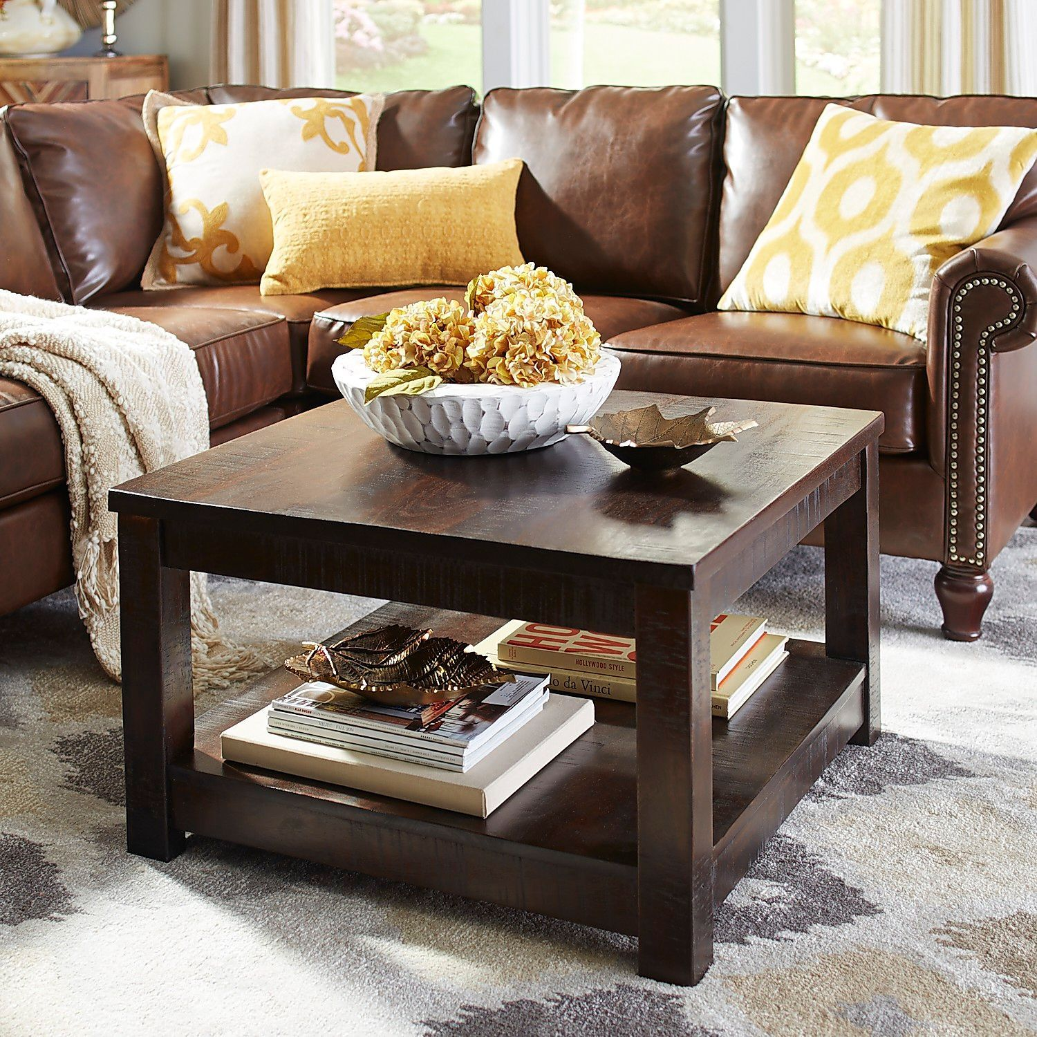 Parsons Tobacco Brown Square Coffee Table Coffee Table Coffee