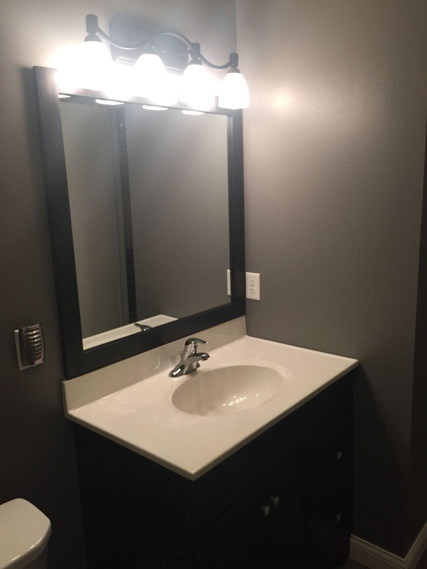 Homemade Espresso Mirror Frame To Match Vanity Mink Wall