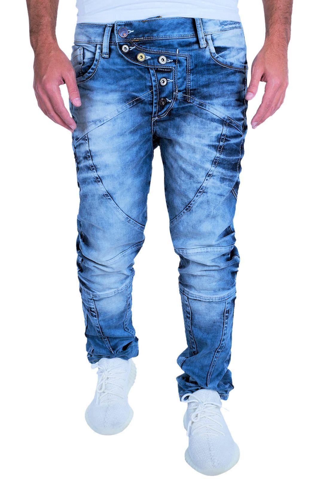 1def92110e45 Details zu CIPO   BAXX Herren Jeans Clubwear Denim Hose CD346 Straight  Trend Dicke Nähte