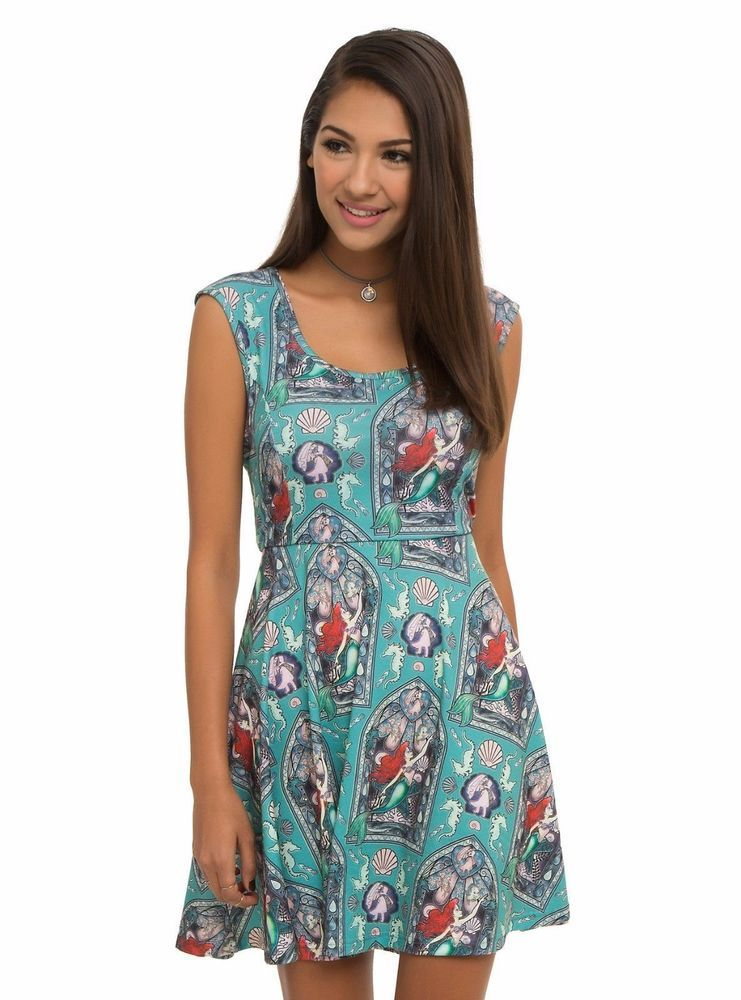 Disney Little Mermaid Ariel Stained Glass Cosplay Tank Dress Skirt LARGE NWT #Disney #SkaterDress #Casual