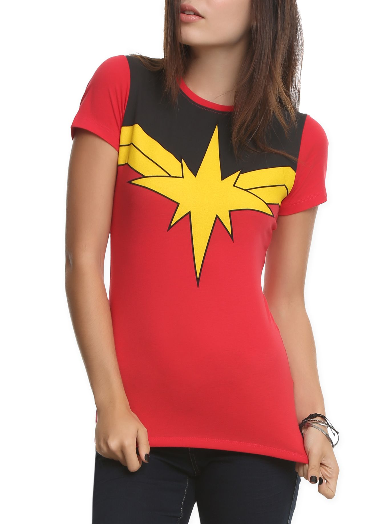 Fitted red tee from Marvel with classic Ms. Marvel costume design.