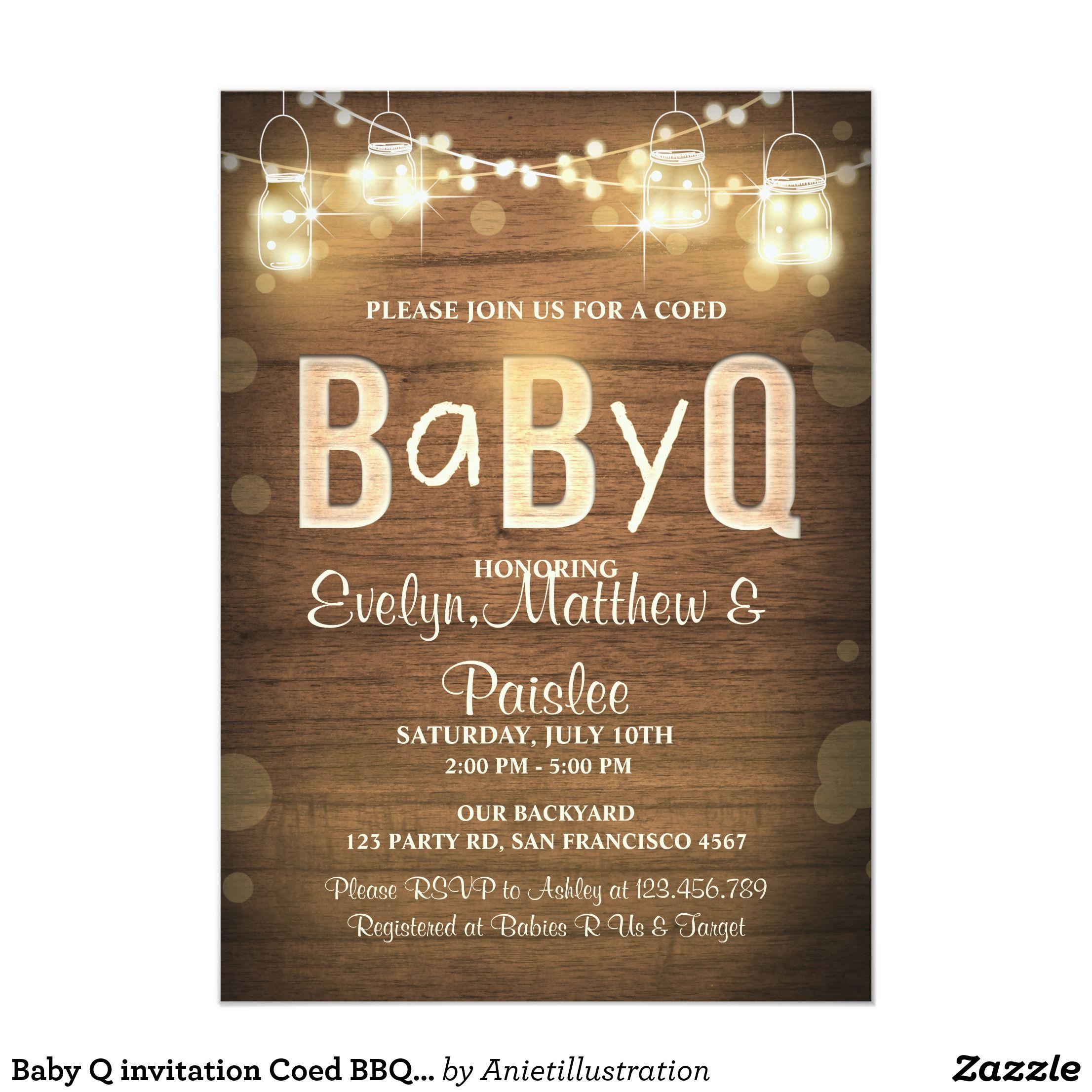 Baby Q invitation Coed BBQ Baby Shower Rustic Wood | baby shower ...