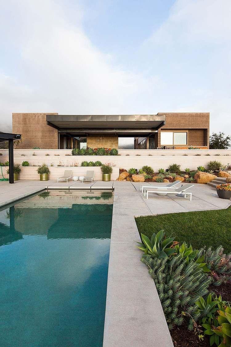 gestaltungsideen garten landschaftsbau pool bereich terrassierte, Garten dekoo