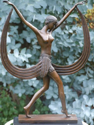 SCARF DANCER PURE BRONZE ART DECO DANCER SIGNED C.MIRVAL