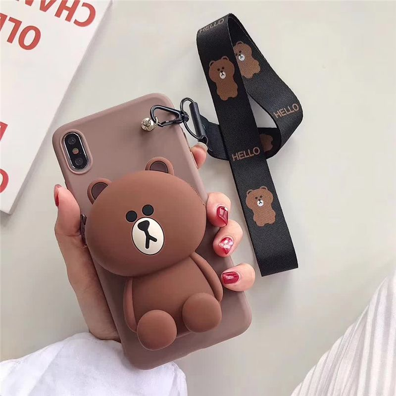 Photo of case for 7 plus 3D cute cartoon animal wallet lanyard phone case for iphone