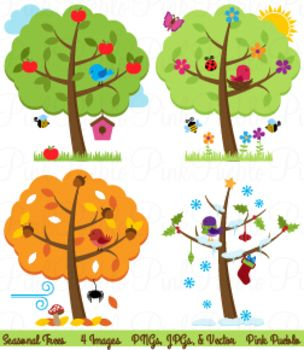 Four Seasons Trees Clipart and Vector with Spring, Summer ...