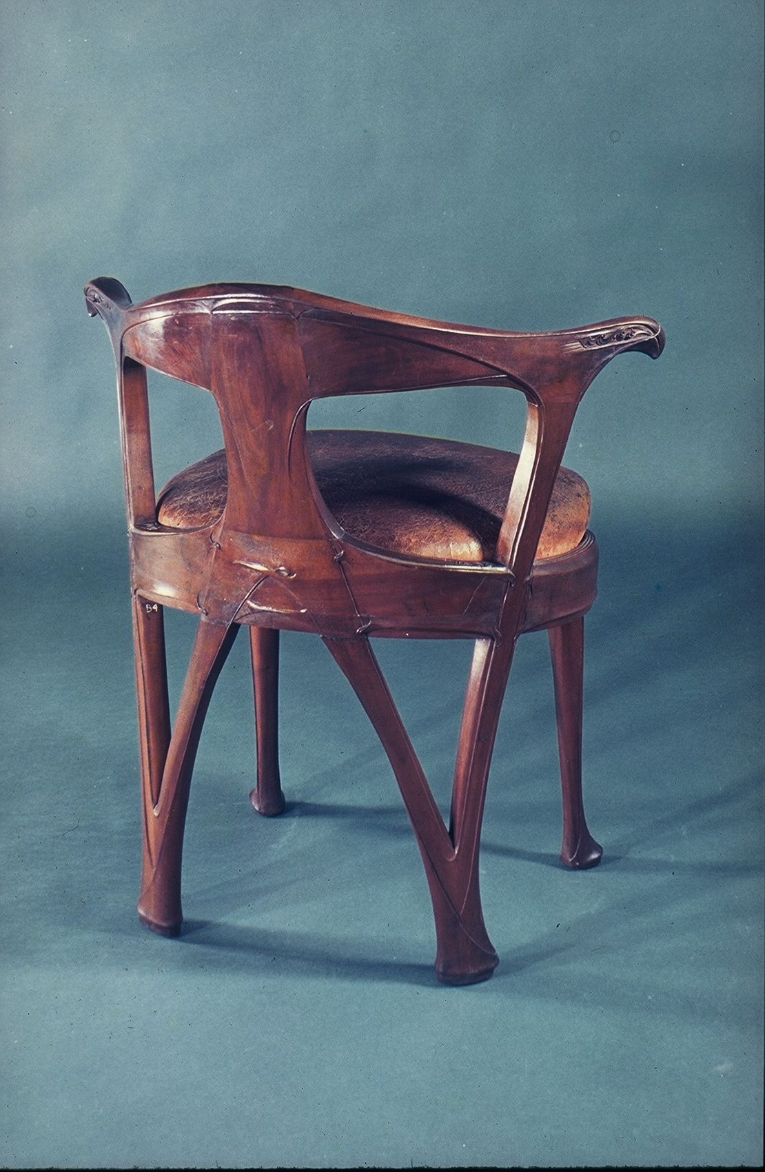 Armchair .1899 Hector Guimard Walnut And Leather