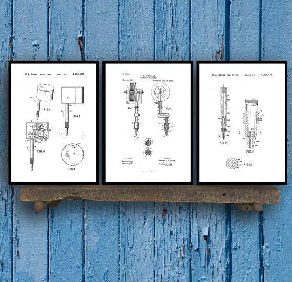 Tattoo Patent Prints - Set of 3 - Tattoo Patent, Tattoo Poster - new blueprint gun art