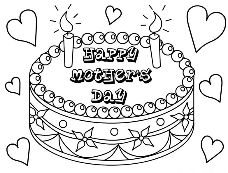 free printable happy mothers day cake coloring page and mothers day song for kids