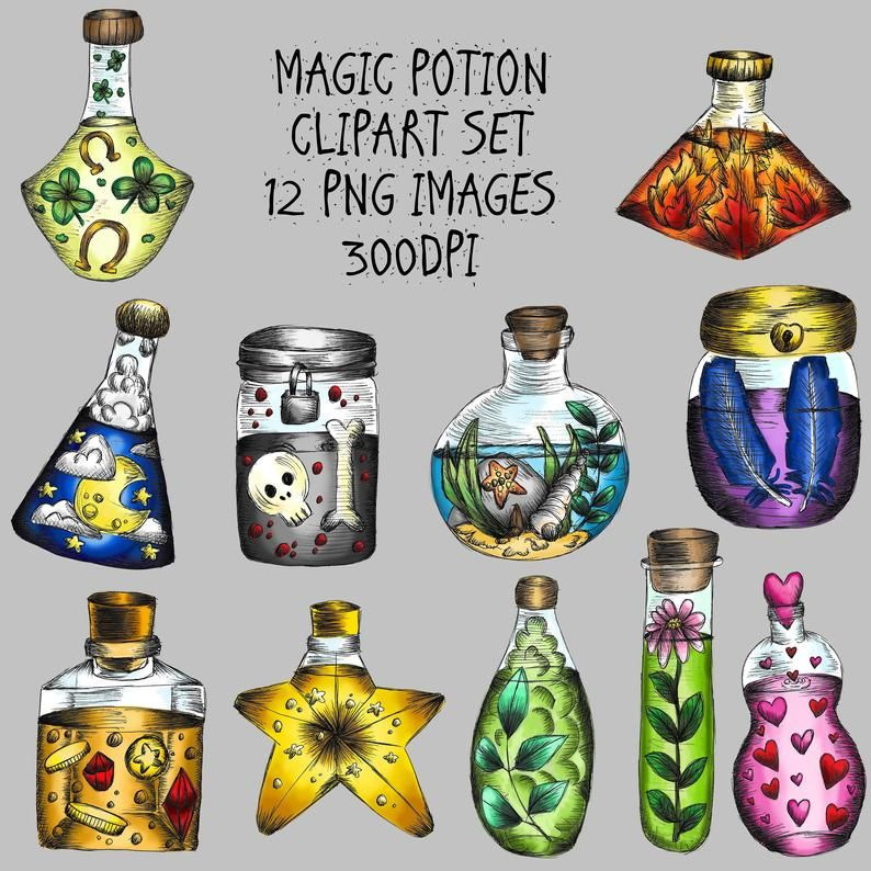 Potion Bottle Clipart 12 X Png Images Hand Drawn Witch Witchcraft Clip Art Bullet Journal Wiccan Grimoire Printable Commercial Use In 2020 Clip Art Pen Illustration How To Draw Hands