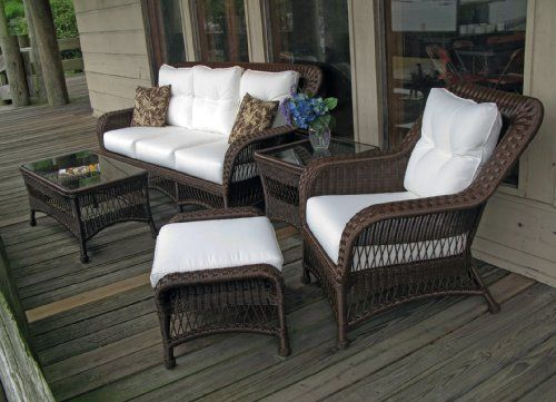 Princeton Outdoor Wicker Set of 5 Shown in Chocolate Brown . $2395.00. ALL WEATHER Wicker! Maintenance-free premium outdoor vinyl wicker. Framed on Aluminum Wicker Available in Crisp White or Rich Chocolate Brown Color Choose from over 100 designer outdoor fabrics! As-shown fabric ships in days. Other fabrics ship in 3-4 weeks. Choose from multiple set of 5 arrangements