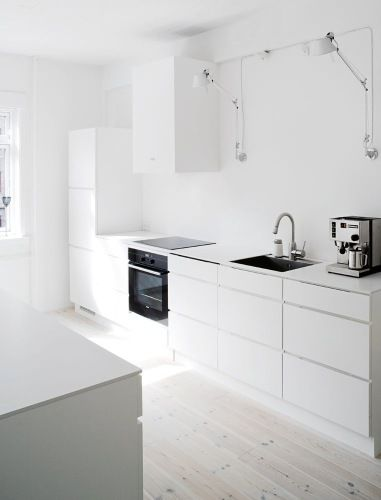 the kitchen cabinets i want White ikea with light floor Kitchen