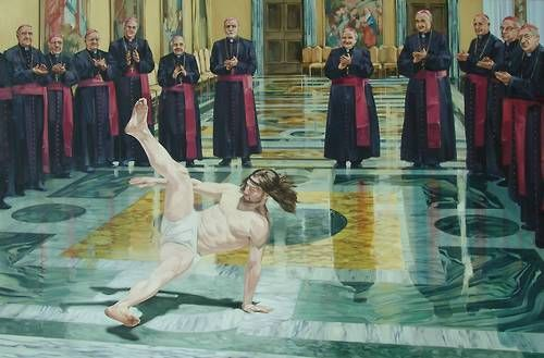Breakdancing Jesus Oil on Canvas 6' x 4'