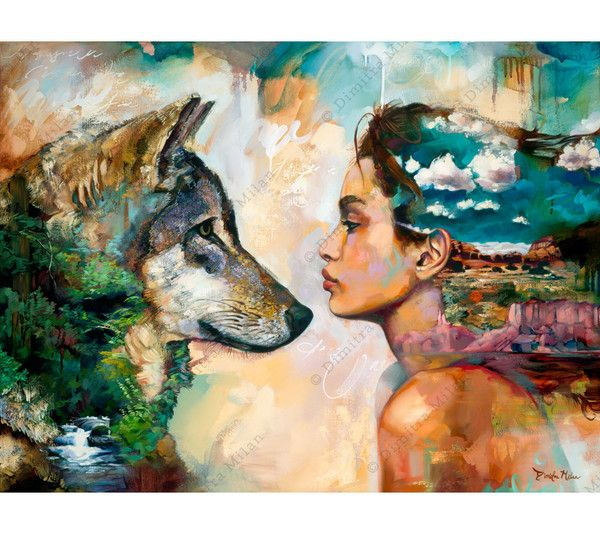 """Arizona based, master mixed media oil painter, Dimitra Milan's """"Running the Distance"""" shows a desert scene and beautiful girl looking face to face with a wolf and and lush flowing river"""