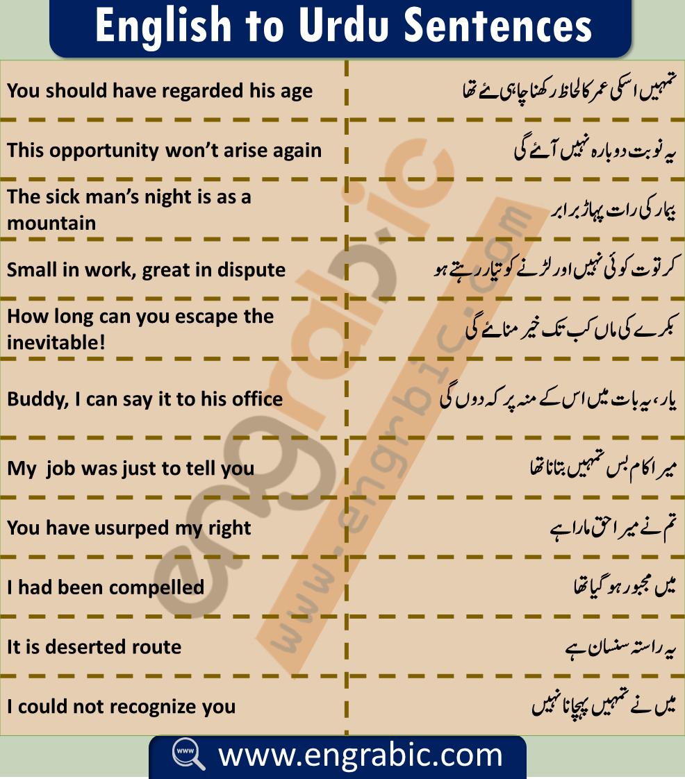 Everyday English To Urdu Sentences Engrabic In 2020 English Sentences Basic English Sentences Everyday English