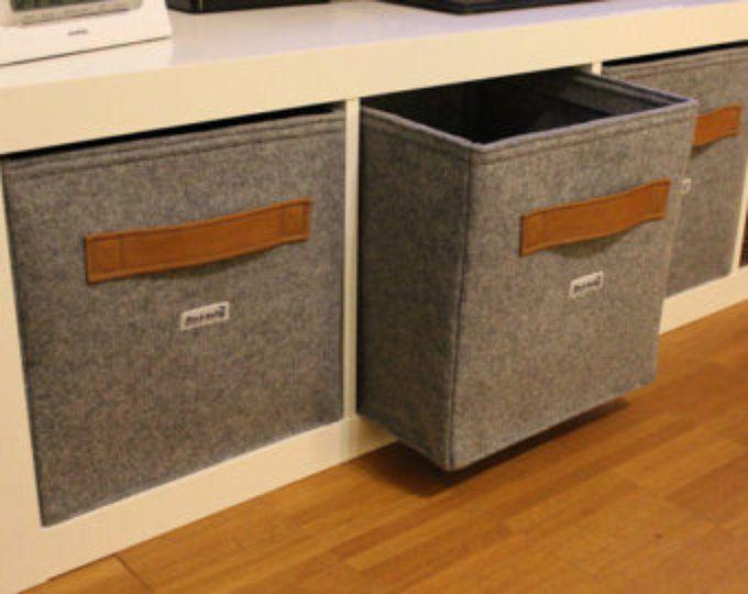 light grey felt boxes fit into ikea expedit and kallax felt storage basket for a shelves. Black Bedroom Furniture Sets. Home Design Ideas