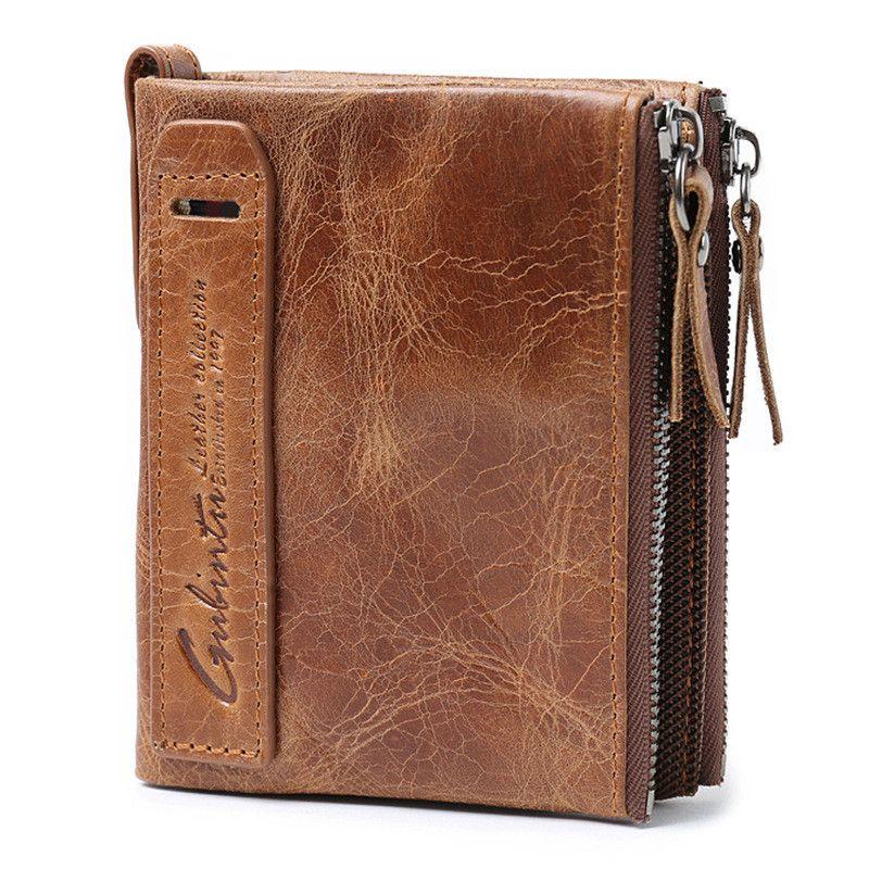 Genuine Leather Men Short Cross Wallet Credit Card Holder Purse Handbag Men Purse