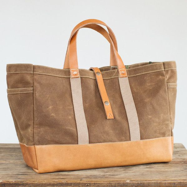 175L Garden / Tool Tote In Rust Waxed Canvas And Horween Leather. Handmade