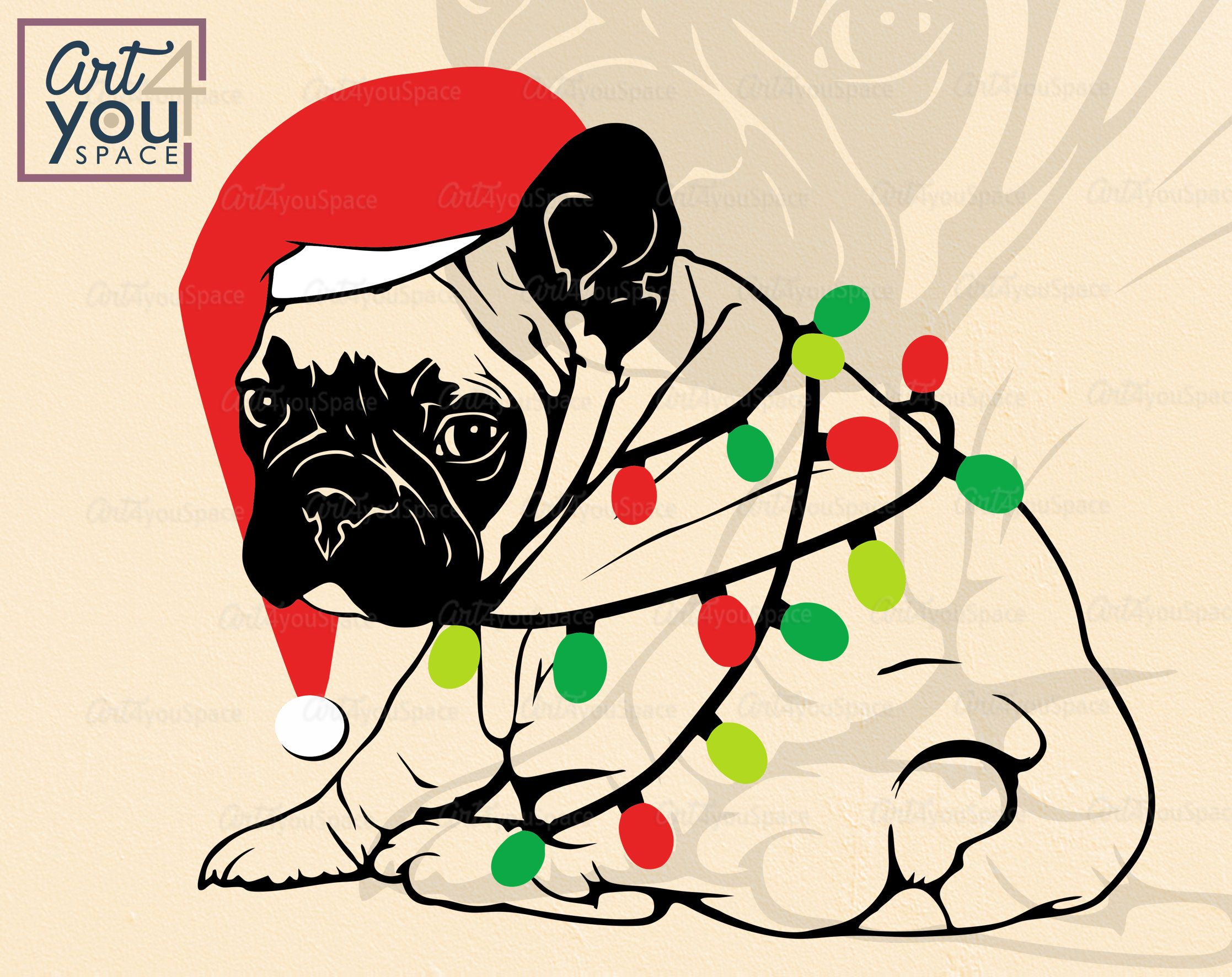 French Bulldog SVG, santa frenchie with christmas lights