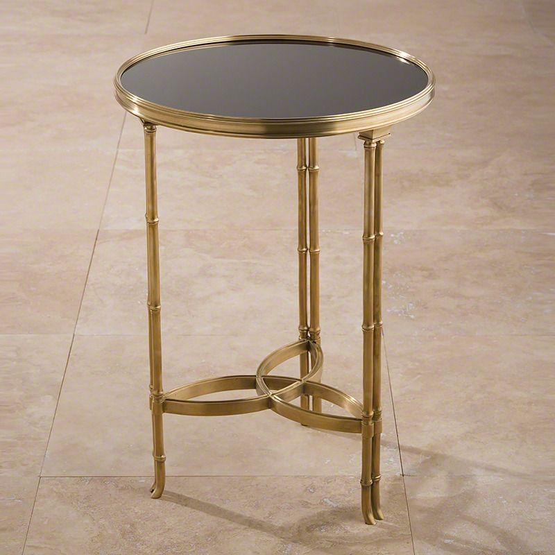 Double Bamboo Leg Accent Table In Brass And Black Granite By Global Views