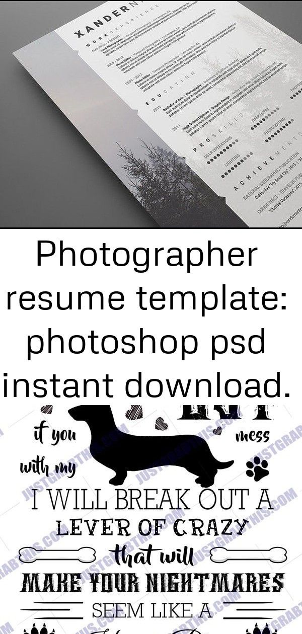 Photographer Resume Template PSD Instant