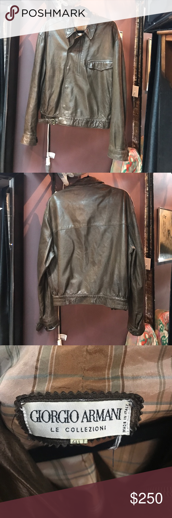 Giorgio Armani Collezioni vintage leather bomber Giorgio Armani Collezioni vintage brown buttery soft silky leather bomber with amazing unique detail. Snap button closure with waist belt and off center half zip. One front zip pocket with flap and cook satin plaid lining. This jacket is in excellent condition. No stains or tears in lining/pockets. There are a few small nicks in leather but I think I'm gonna have repaired and will update. Amazing and one of a kind! Giorgio Armani Jackets…