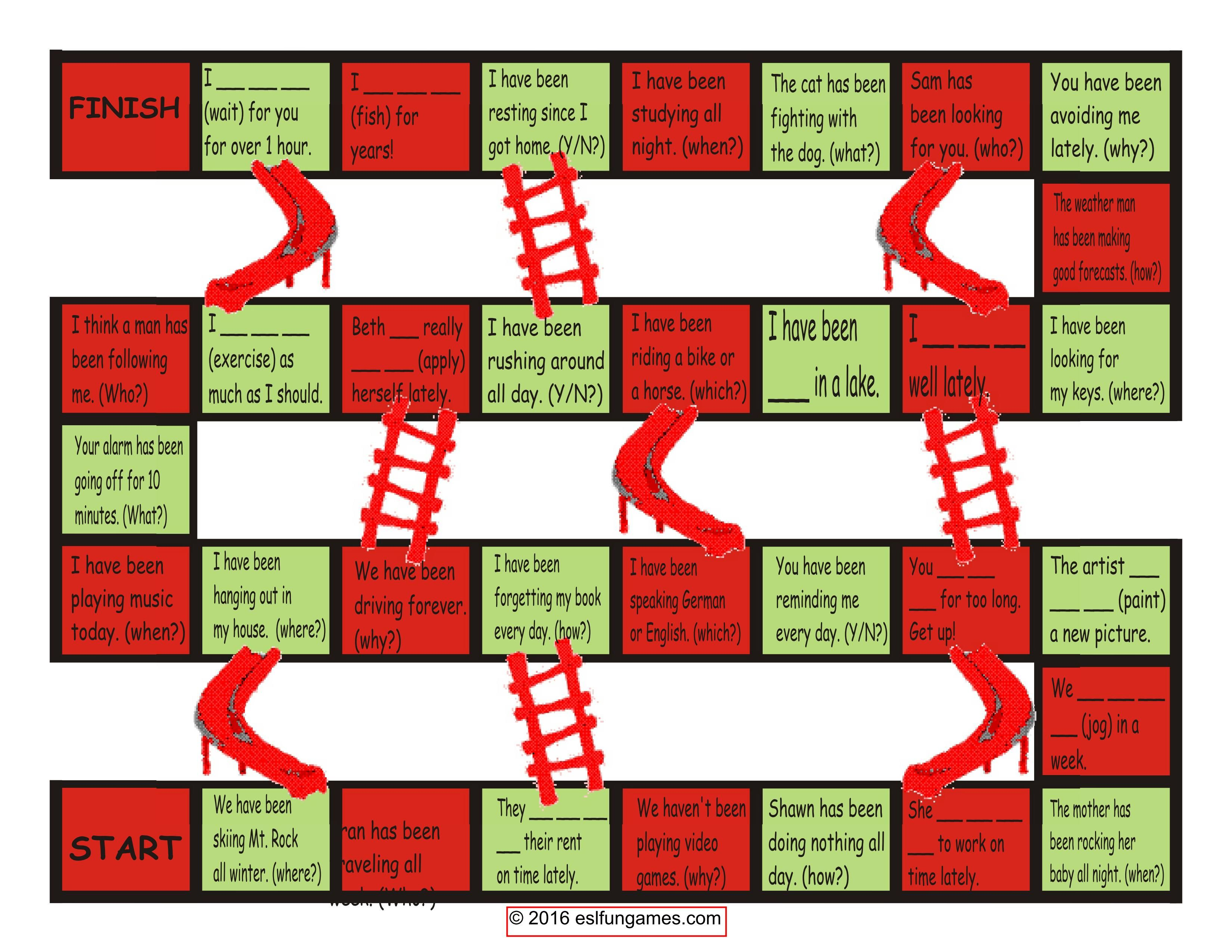Present Perfect Continuous Chutes Amp Ladders Game
