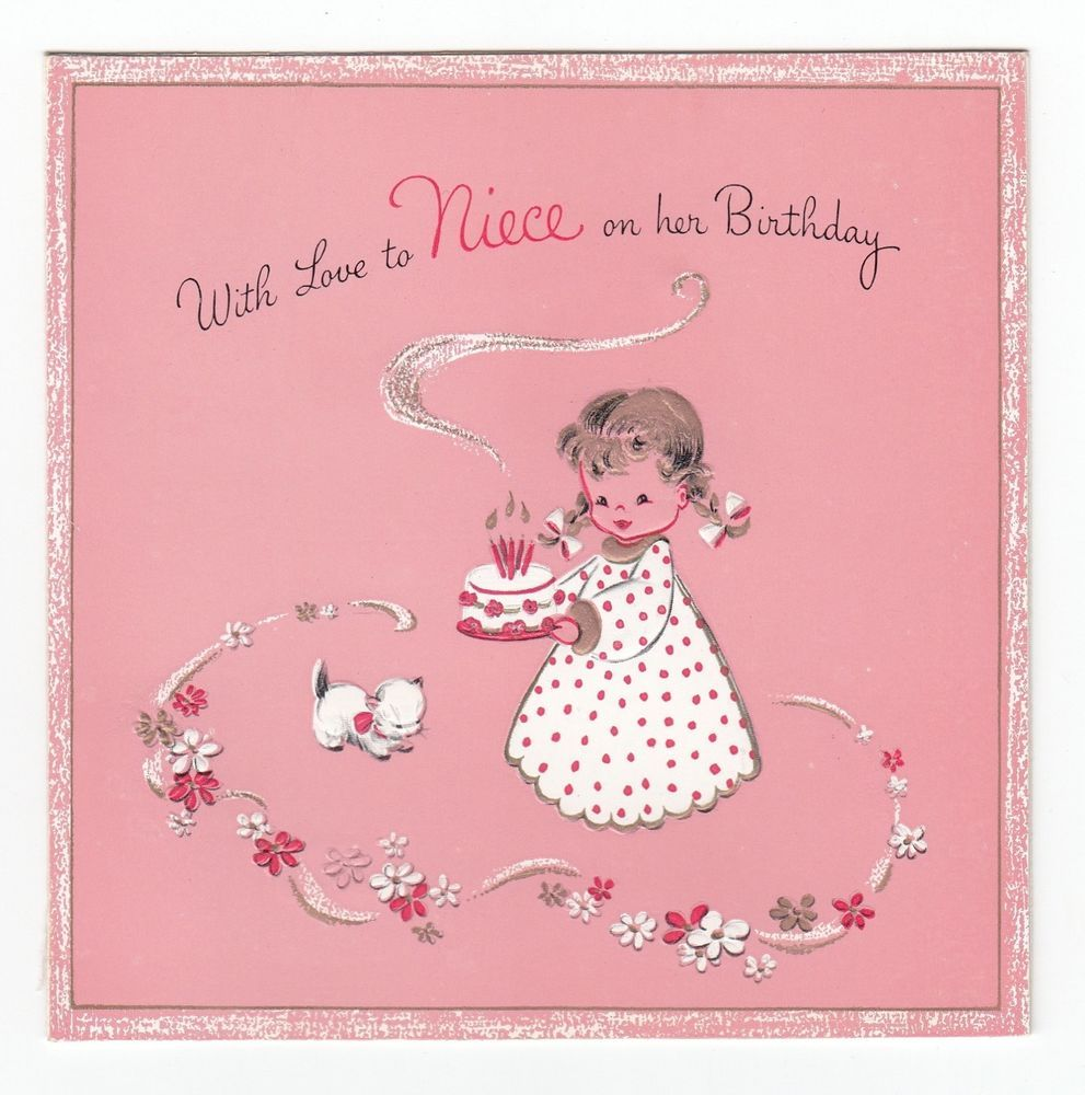 Images Of Vintage Girls First Birthday Card: Vintage Greeting Card Cute Little Girl Birthday Cake