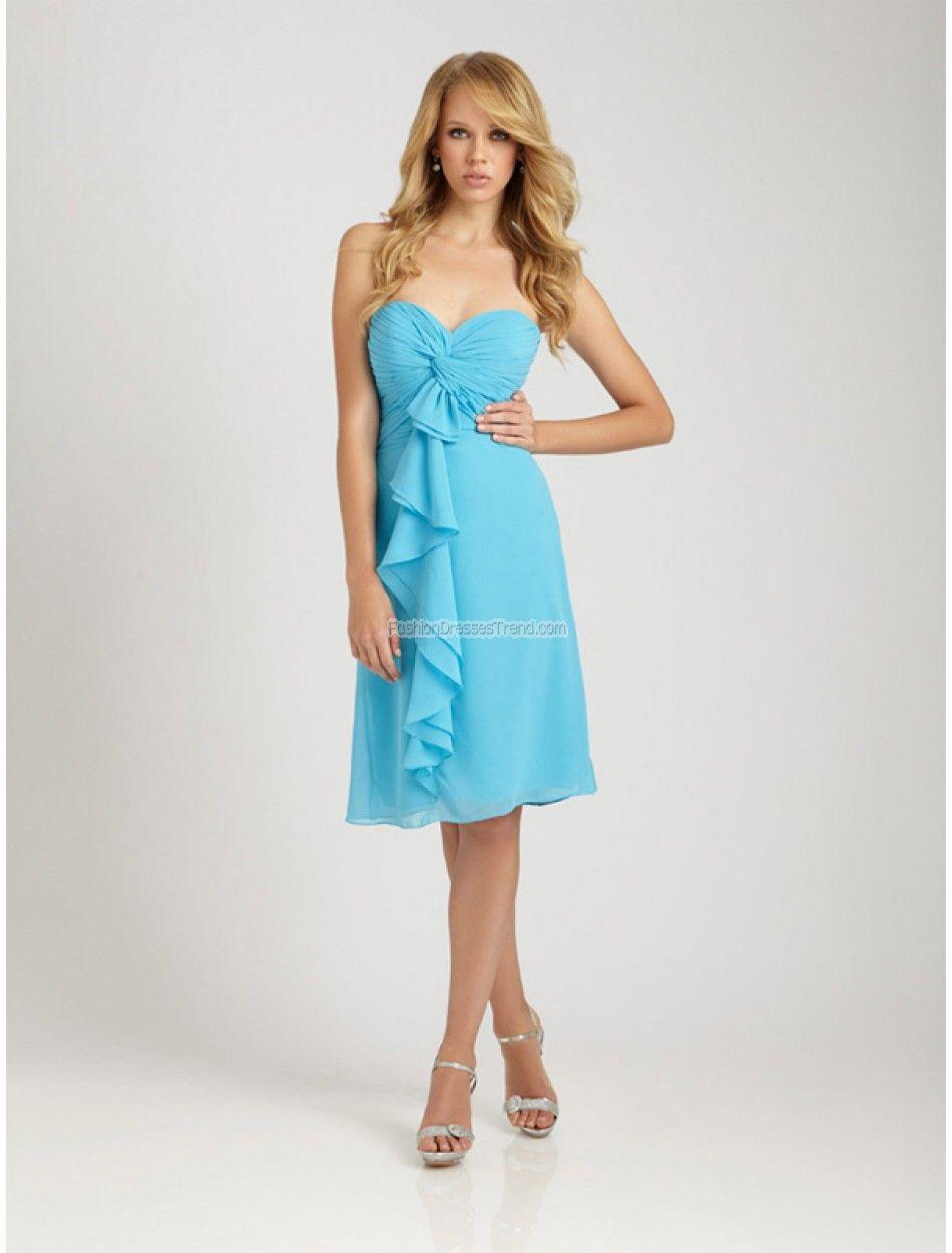 Sheath Column Sweetheart Chiffon Light Sky Blue Bridesmaid Dress With Ruffles #KU3829