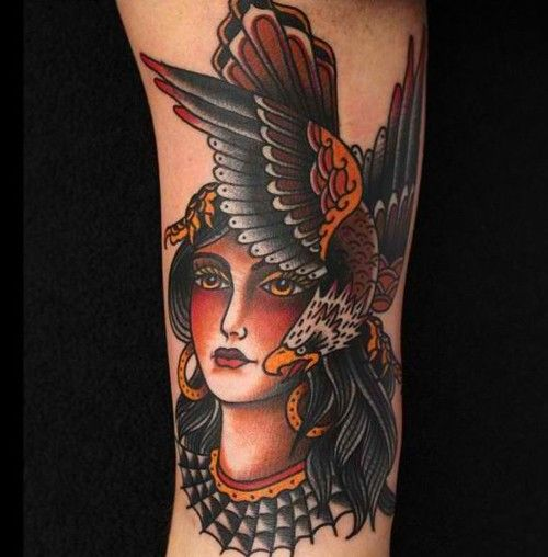 Traditional Girl Head And Eagle Tattoo Designs Tattoo Love