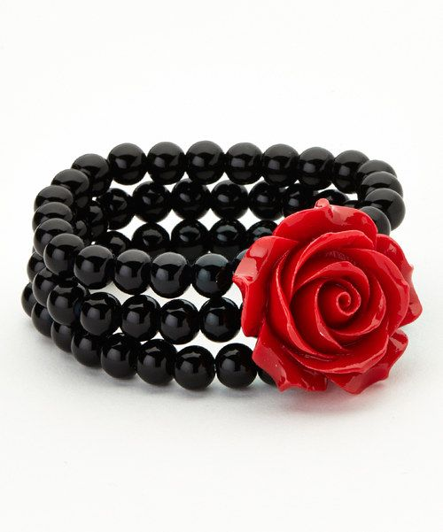 Take+a+look+at+the+Black+&+Red+Rose+Beaded+Stretch+Bracelet+on+#zulily+today!