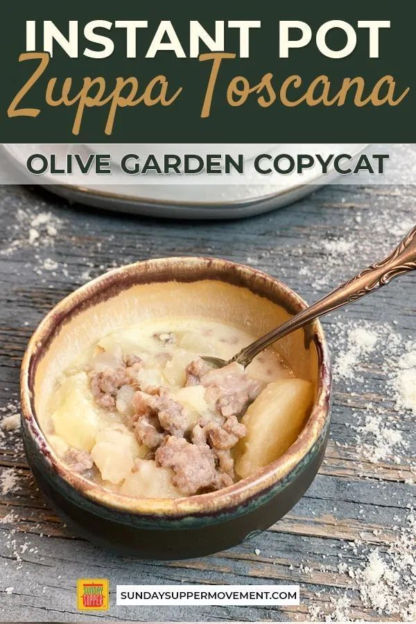 Zuppa Toscana Recipe #sausagepotatoes If you're a lover of Olive Garden's Zuppa Toscana recipe, you are in for a treat! This Zuppa Toscana copycat is a creamy sausage potato soup, loaded with spicy, crumbly sausage, melt-in-your-mouth potatoes, and crispy bacon in a creamy broth! The best part? This is an Instant Pot soup recipe, so it's ready in under an hour! #SundaySupper #ZuppaToscana #TuscanSoup #OliveGarden #souprecipes #soups #easyrecipes #instantpotrecipes #instantpot #instapot #instapot #zuppatoscanasoup