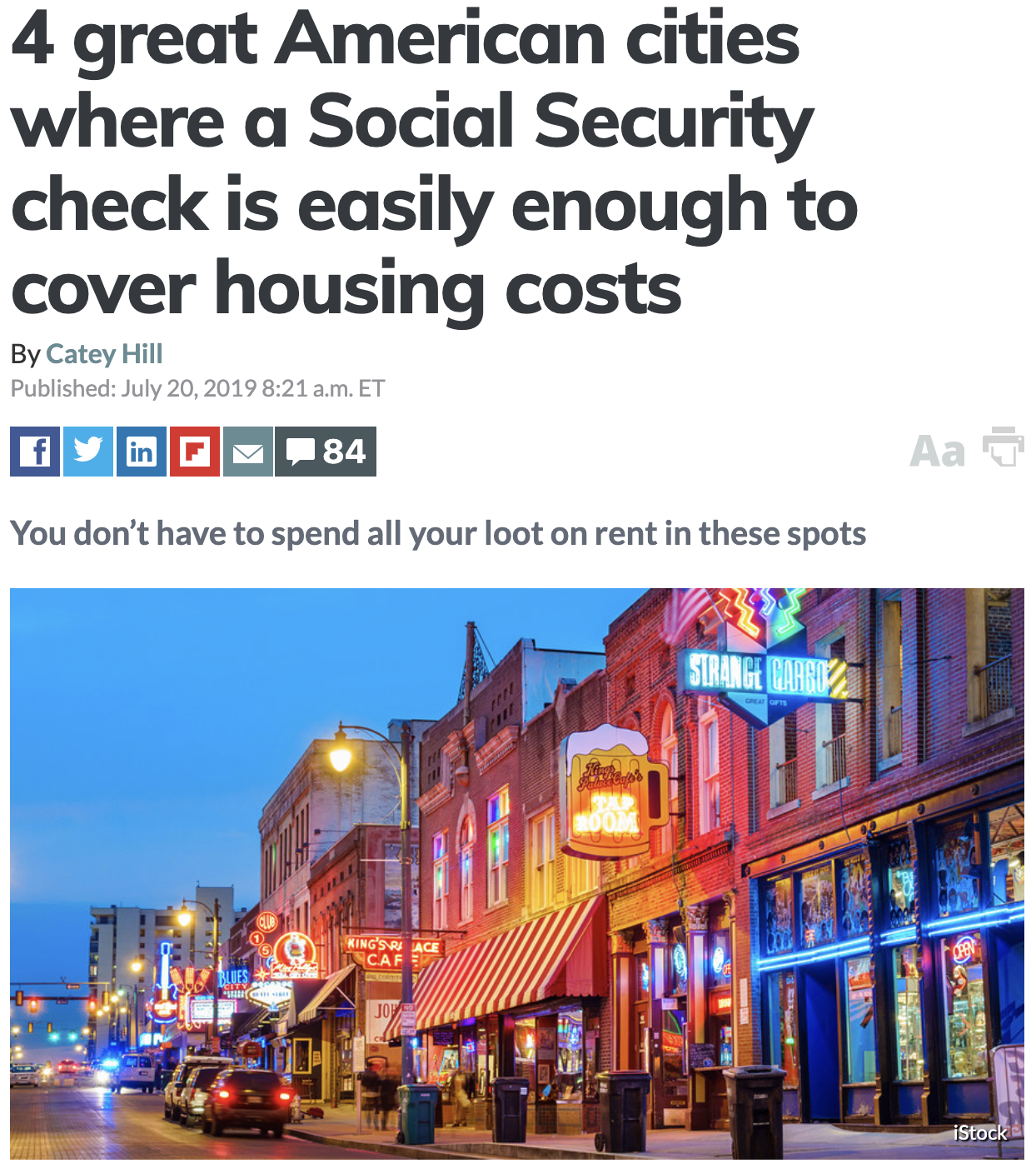 4 Great American Cities Where A Socialsecurity Check Is Easily Enough To Cover Housing Costs Via Market Watch American Cities House Cost Social Security