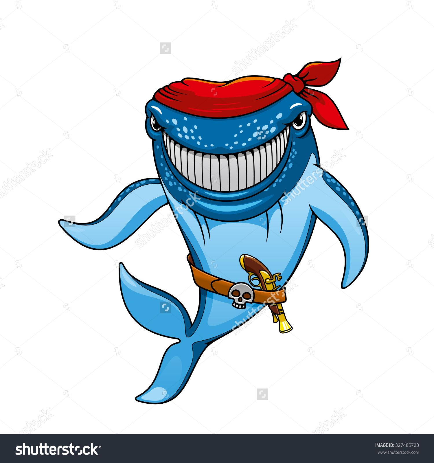 smiling blue whale pirate cartoon character wearing in red
