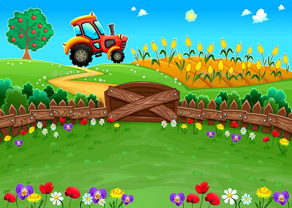 Landscape With Tractor And Cornfield With Images Kids