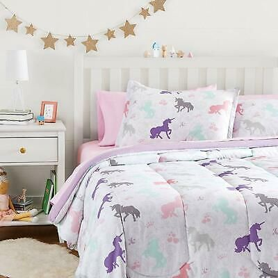 Twin Xl Full Queen Bed Bag Purple Pink Unicorns Paisley 7