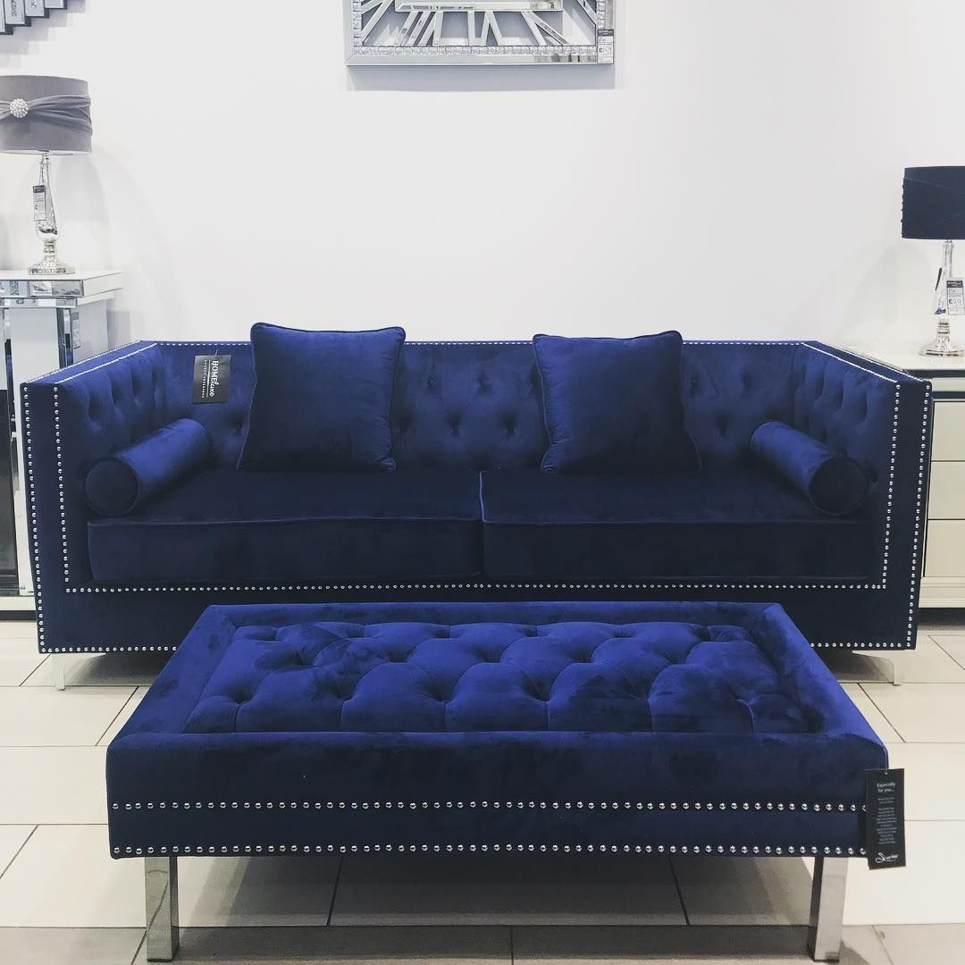 Home Luxe Interiors On Instagram Just What We Have Been Waiting For Luxurious Brush Blue Living Room Decor Blue Furniture Living Room Blue Couch Living Room