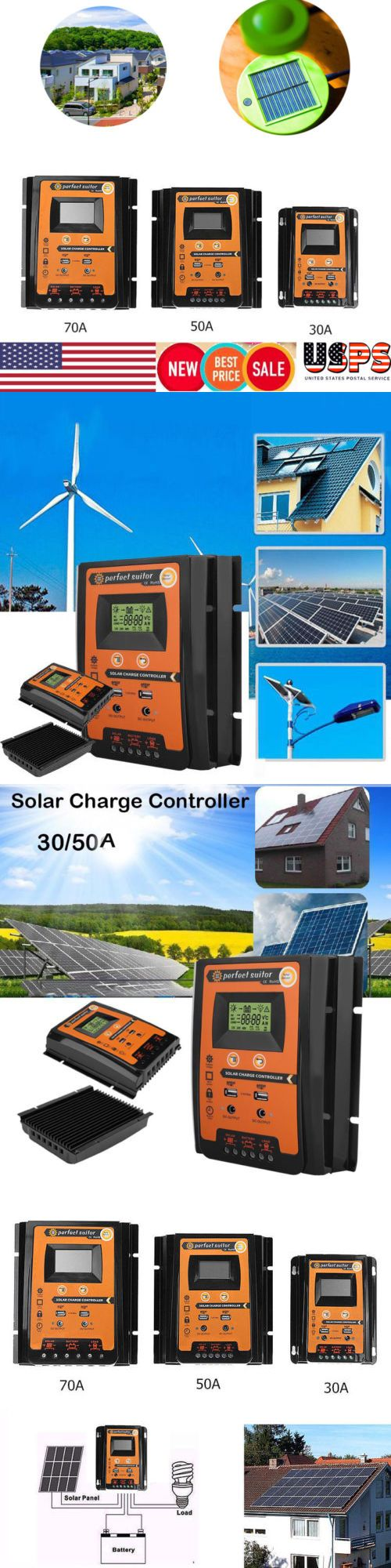 Chargers And Inverters 41980 Lcd 30 50 70a Mppt Solar Charge Controller Panel Regulator Auto 12v 24v Dual Usb Buy It N Dual Usb Chargers Paneling